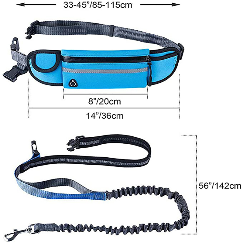 Hands Free Dog Leash Reflective Waterproof Dog Lead Running Leash for Medium Large Dogs Adjustable Waist Belt with Pouch