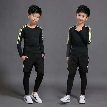 Dzieci biegające strój kompresyjny odzież sportowa siłownia legginsy treningowe długie spodnie do ćwiczeń kulturystycznych tanie i dobre opinie BAOGEYANG CN (pochodzenie) Chłopcy Pasuje prawda na wymiar weź swój normalny rozmiar Stałe Szybkie suche 1013+1006+958