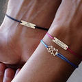 Paare armbänder frauen Personalisierte armband Gravur rechteck Individuelles brief Edelstahl Rot schwarz seil armband frauen