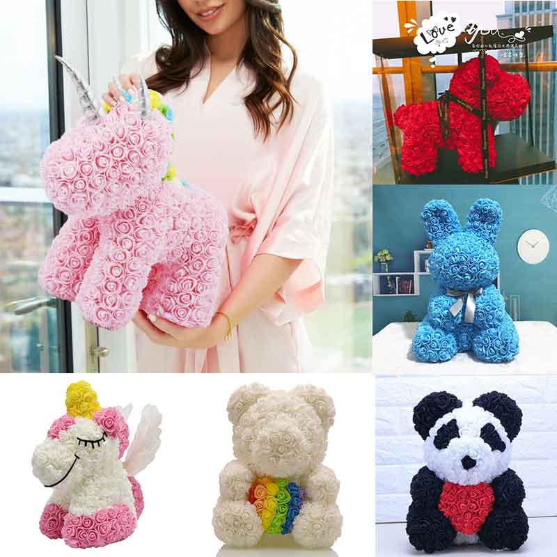 2020 Hot Sale Rabbit Dog Panda Unicorn Teddy Bear Rose Soap Foam Flower Artificial Toy Christmas Gifts for Women Valentines Gift(China)