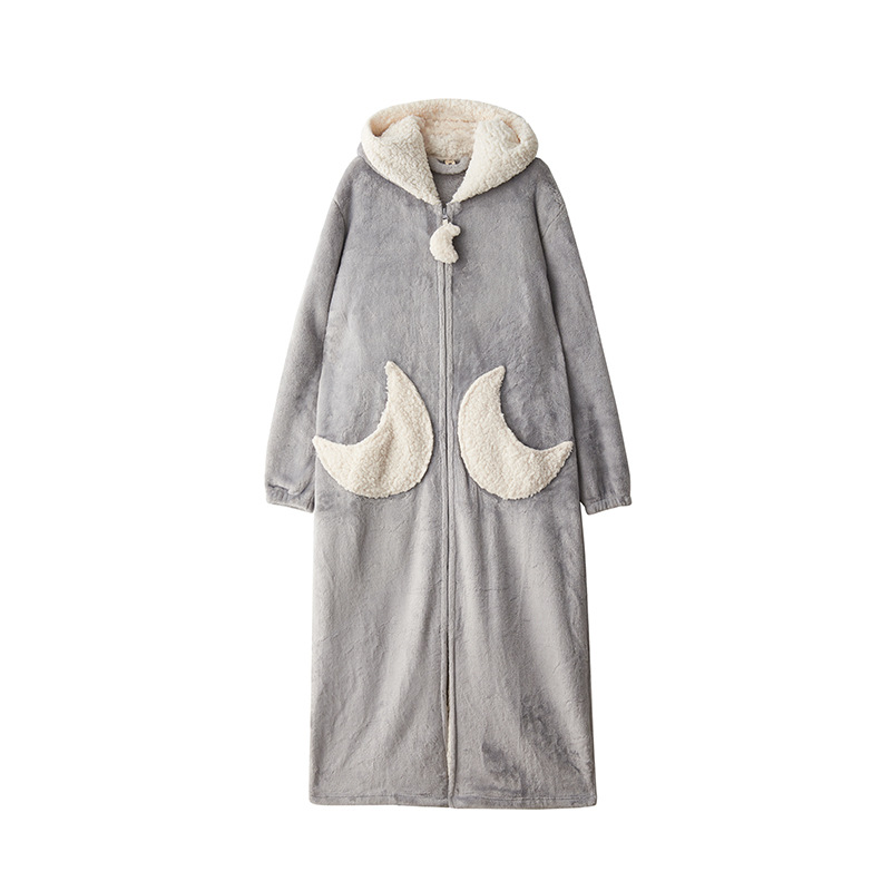 Femmes bleu rose gris décontracté hiver flanelle maison chaud vêtements de nuit Europe femme corail velours belle étoile en vrac longues Robes à capuche - 2