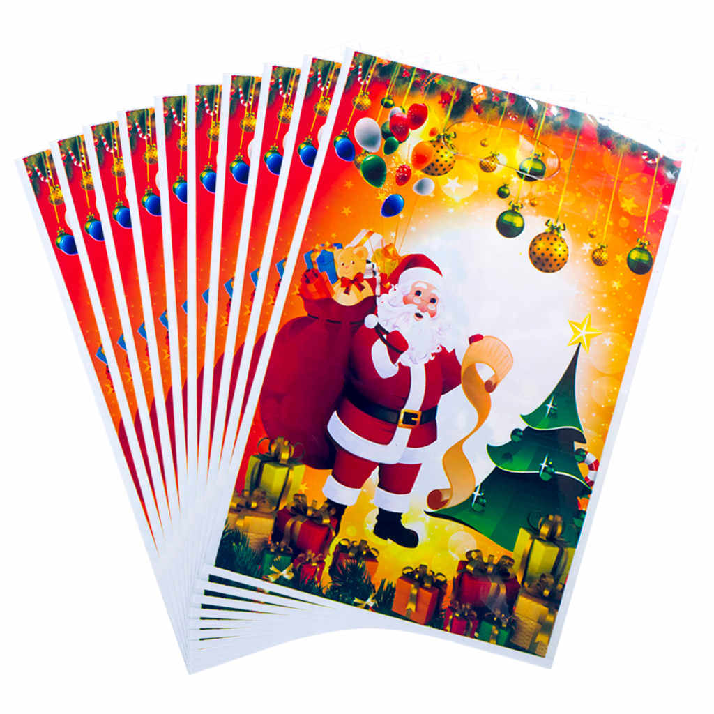 10PC Christmas PVC Disposable Tote Christmas Candy Gift Bag Ornaments adornos de navidad Housekeeping  Candy bag 2020 new year