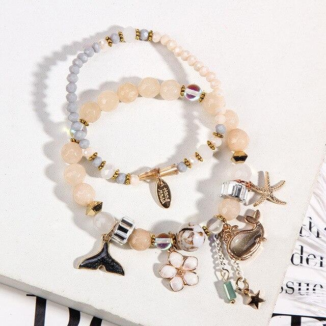 ATTRACTTO niestandardowe różowe wieloryby bransoletki urok dla kobiet bransoletki i bransolety kwiatowe biżuteria kryształowa bransoletka złoty ogon ryby sbr1526