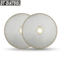 """DT DIATOOL 2pcs 14""""/350MM Wet Diamond Ceramic Cutting Disc Saw Blades With Hook Slot Bore 60mm with 50mm reducer for Tile Marble
