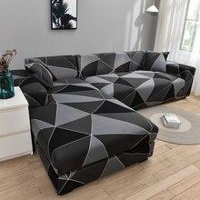 Sofa-Covers Sofa-Protector Corner Square Living-Room Elastic L-Shape Anti-Dust Printed