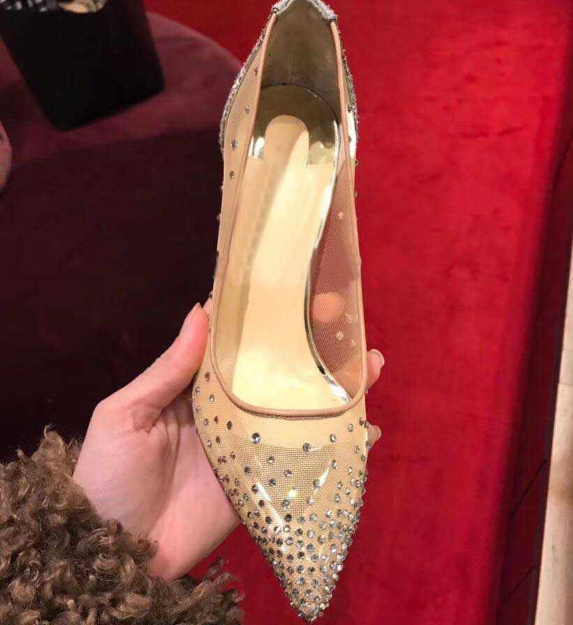 Mùa hè 2020 mới lưới ren đế chỉ đỏ đáy giày cao gót dẹt gợi cảm Giày cưới nữ bơm Giày