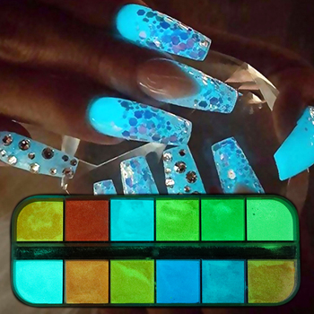 12 color /Set Fluorescence Nail Glitter Powder Light Luminous Ultrafine Glowing Pigment Neon Phosphor in The Dark Nail Dust TRYS
