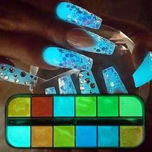 12 색/세트 형광 네일 글리터 파우더 라이트 루미 너스 울트라 파인 어둠 속에서 빛나는 안료 네온 형광체 네일 더스트 TRYS
