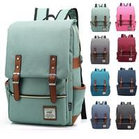 Mochila Vintage de lona para ordenador portátil para hombre y mujer, morral informal Retro de lona para viaje y ocio, mochilas escolares para adolescentes