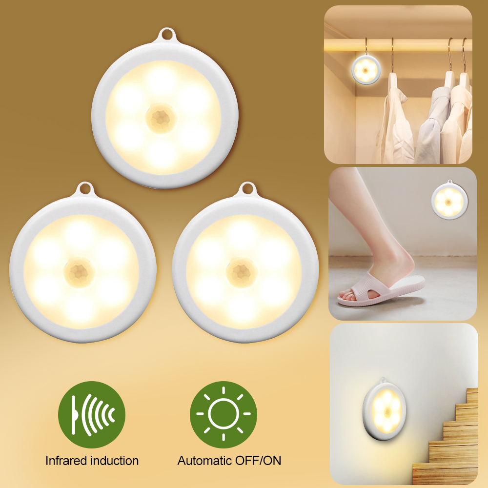 1/3/6pcs 6 LEDs Motion Sensor Cabinet Light Dia 80mm Wireless Detector Light Auto On/Off Lamp Protect Eye Lamp Cabinet Light