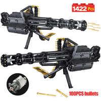 1422 sztuk Technic City Gatling Guns emisji modelu klocki dla Legoing wojskowe armii WW2 broń cegły zabawki dla chłopców prezenty