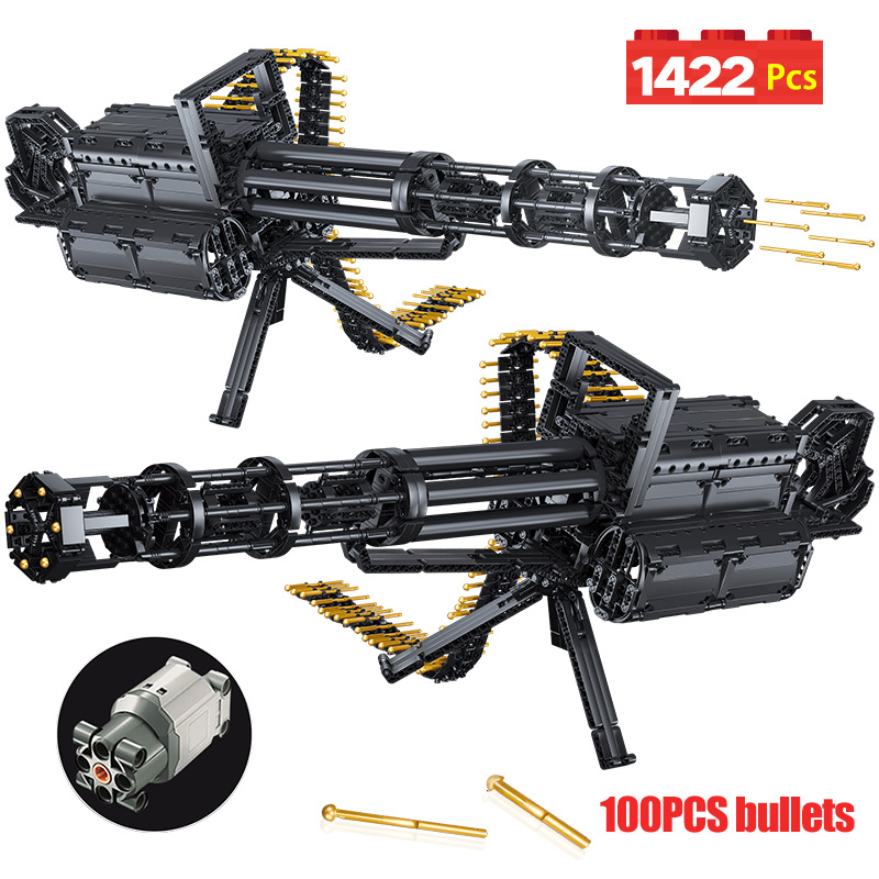 1422Pcs Technic City Gatling Guns Emission Model Building Blocks Military Army WW2 Weapon Bricks Toys For Boys Gifts