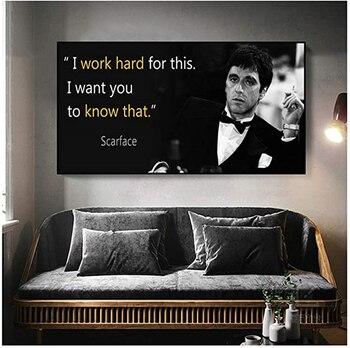 Pintura en lienzo de Scarface, afiche con citas de películas, impresión artística...