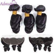 Admutty – mèches péruviennes non-remy, cheveux naturels, Loose Wave, 13x4, avec Lace Frontal, avec Closure, pour femmes africaines