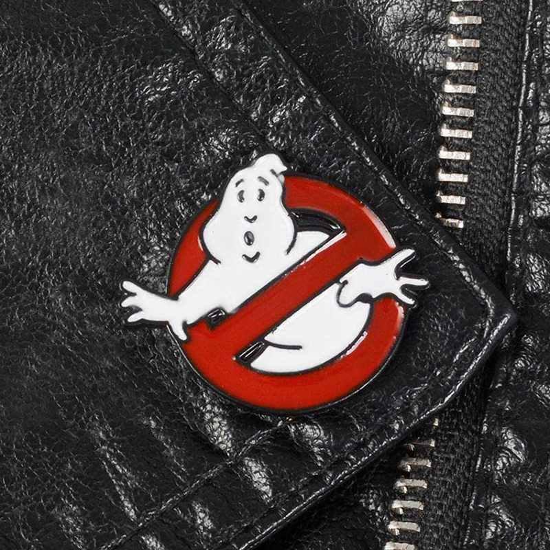 Lucu Ghostbusters Enamel Pin Hantu Putih Lencana Bros Tas Pakaian Kerah Pin Kartun Menyenangkan Film Perhiasan Hadiah untuk Penggemar Teman
