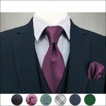 Solid Color Blue Green Purple Mens Tie Set Neckties Pocket Square For Suit Wedding Gift Accessories Neckwear