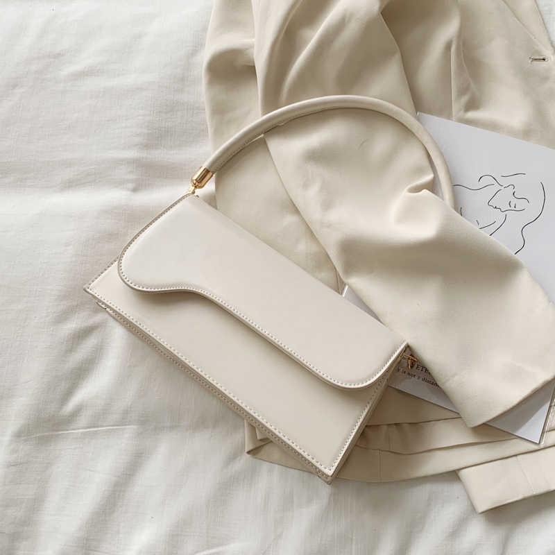 สไตล์เรียบง่ายPUหนังCrossbodyกระเป๋าสำหรับผู้หญิง 2020 กระเป๋าBaguetteไหล่กระเป๋าถือกระเป๋าเดินทางหญิงกระเป๋า