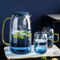 1500ml cold glass water pitcher Heat Resistent water carafe with handle and cup teapot kettle for ice tea juice
