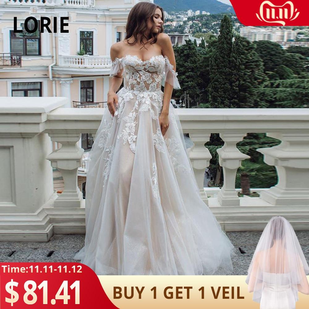 LORIE Boho Wedding Dress 2019 Appliques With Tulle Backless A-Line Wedding Gowns Off The Shoulder Bridal Dress Vestido De Noiva