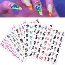 5 pièces/ensemble 3D Punk Dragon Nail Art transfert d'eau autocollants décoration Art Design pour ongles décalcomanies Ongle manucure conseils accessoires