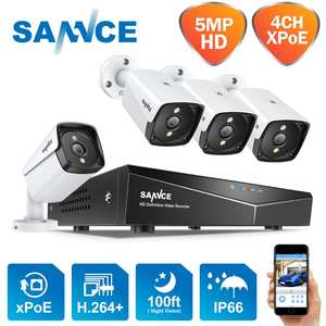 SANNCE 4CH 5MP XPOE Video Security System 5MP Outdoor Waterproof Infrared Night Vision