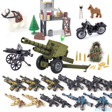 Diy軍用武器銃WW2 moc付属品ミニ兵士ベースフィギュアプレイモービルモデルビルディングブロックレンガ子供の子供のおもちゃ