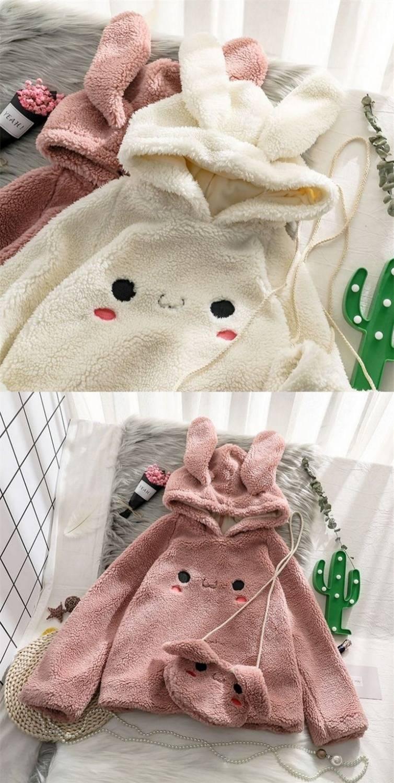 Kawaii Sweet Bunny Fleece Hoodie