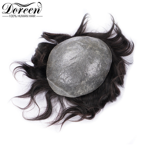 """Image 2 - Doreen European Remy Human Hair Toupee For Men With Transparent Thin skin PU 7"""" x 9"""" Straight Hair Pieces For Men Wig"""