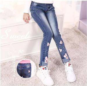 Image 1 - 2020 autumn childrens clothes girls jeans casual slim thin denim baby girl jeans for girls big kids jeans long trousers