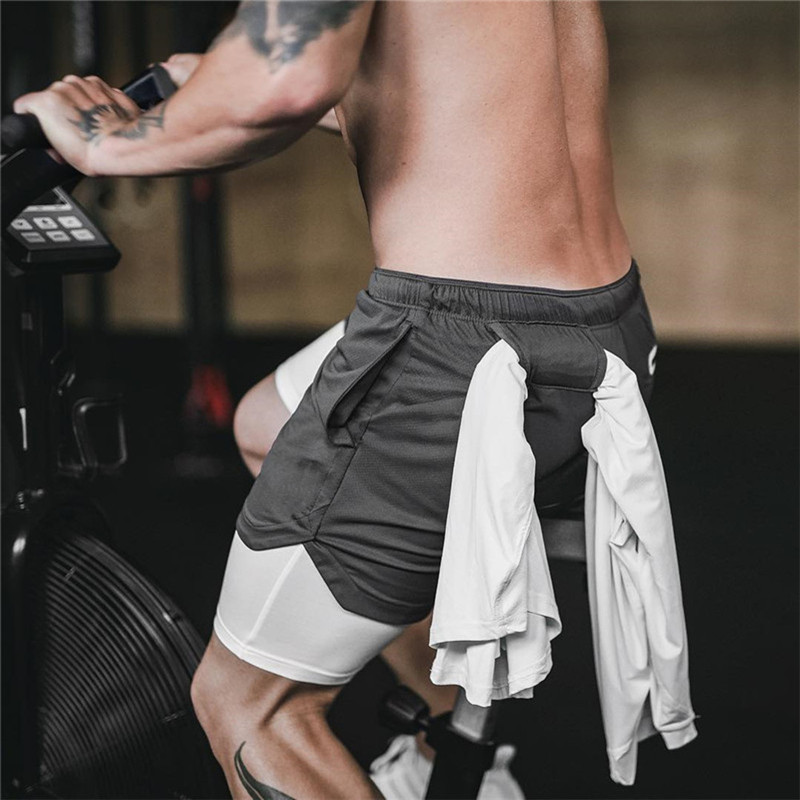 Men's Brand Shorts Running Shorts Quick Drying Sport Shorts Gyms Fitness Bodybuilding Workout Built-in Pockets Short Pants Men