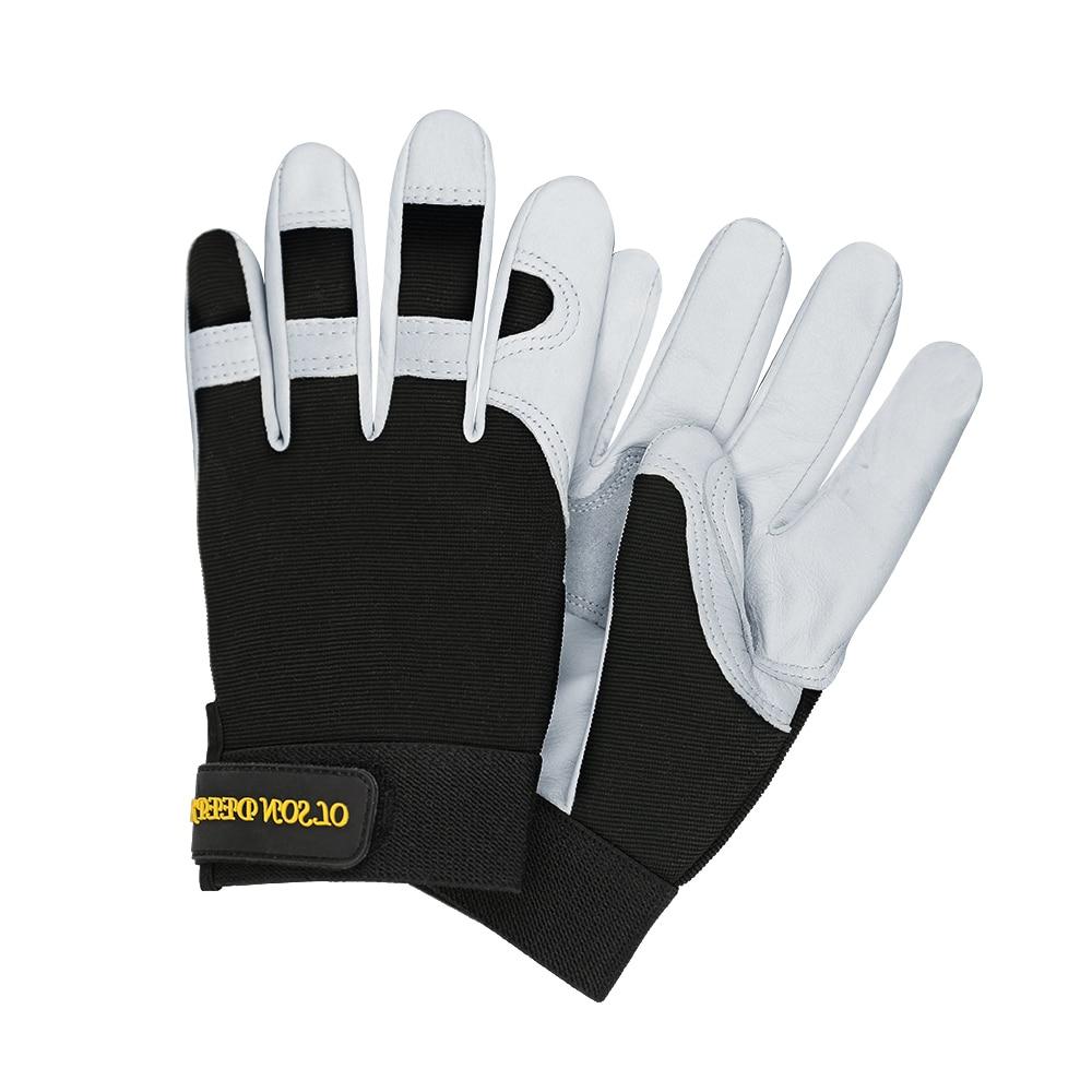Gants de travail gants de mécanicien résistant à l'eau Ottoman dos Double paume en cuir moto conduite gant hommes et femmes