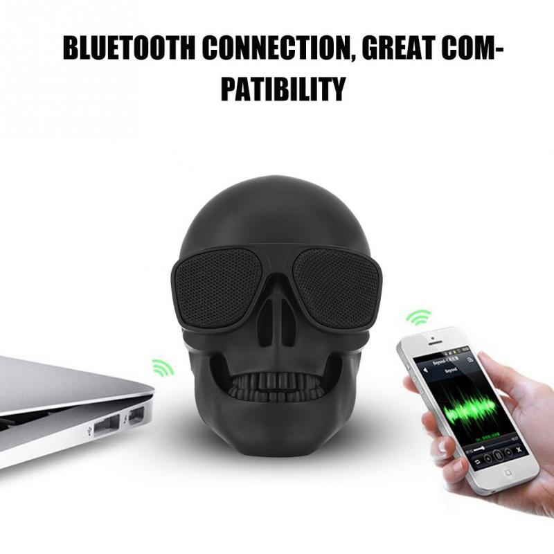 Wireless <font><b>Bluetooth</b></font> Skull <font><b>Speaker</b></font> Portable Mini Stereo Sound Unique Enhanced Bass <font><b>Speakers</b></font> 5W Audio Music Player Support TF Card image