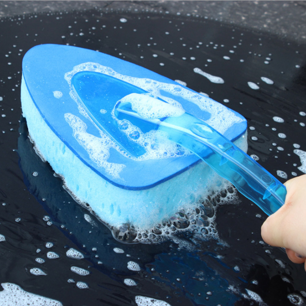 New Arrival Car styling Car Wash Clean Sponge Brush Glass Cleaner Blue Wave Car Wash Triangle Car Accessiories in Sponges Cloths Brushes from Automobiles Motorcycles