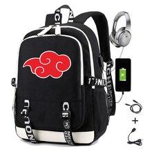 ナルトのバックパックプリント暁うちはイタチサスケuchih充電usb女性のラップトップバックパック旅行カジュアルデイパック