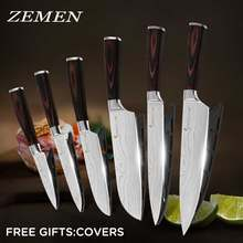 ZEMEN Stainless Steel Kitchen Knife 7Cr17 High Carbon Japanese Cleaver Laser Damascus Pattern Chef Knives Kitchen Accessories(China)