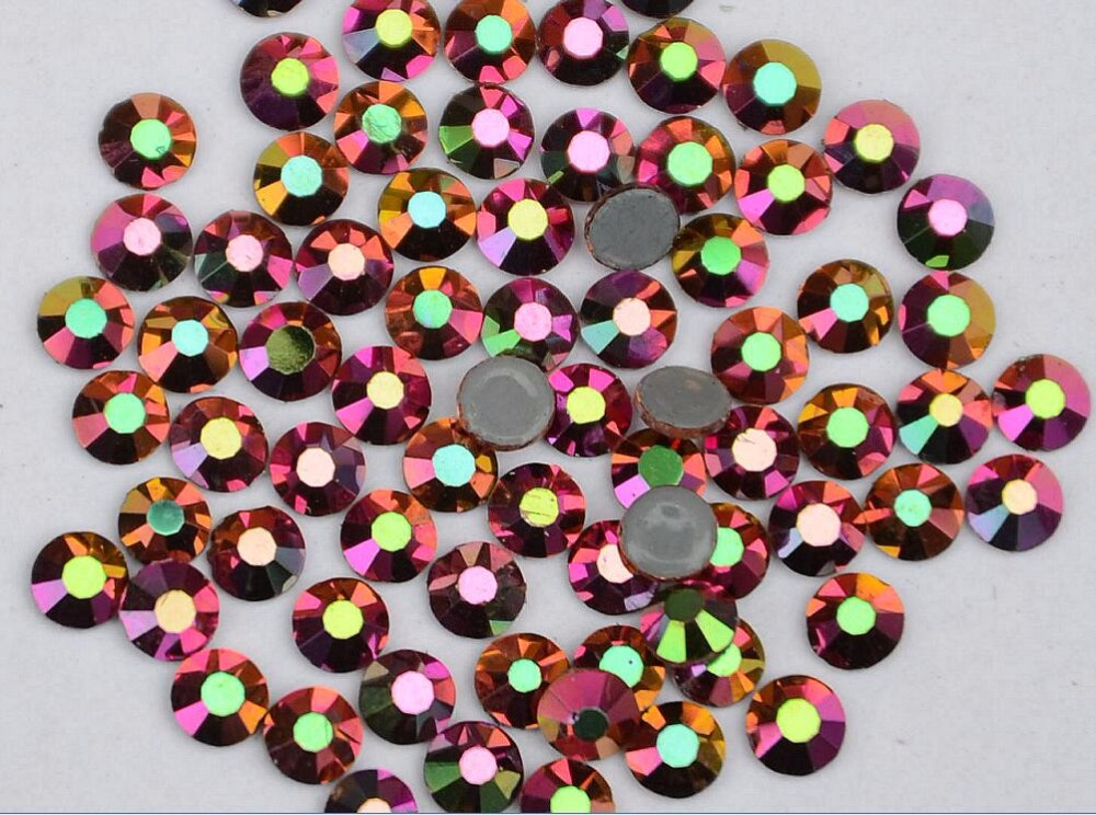 Стразы Rainbow-Rose-Gold DMC с плоским основанием, стразы для горячей фиксации, стразы для стеклянной одежды, стразы. SS6,SS8,SS10,SS16,SS20,SS30