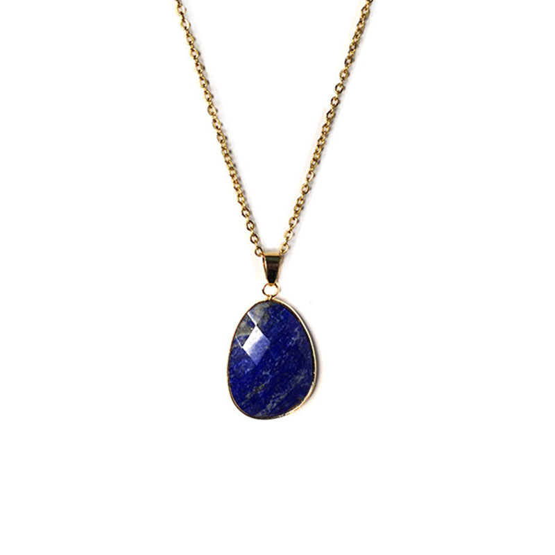 Top 100% Natural Faceted Water Shape Stone Necklace Plat Gold Steel Chain Lapis Lazuli Pendant Necklace Choker for Women Gift