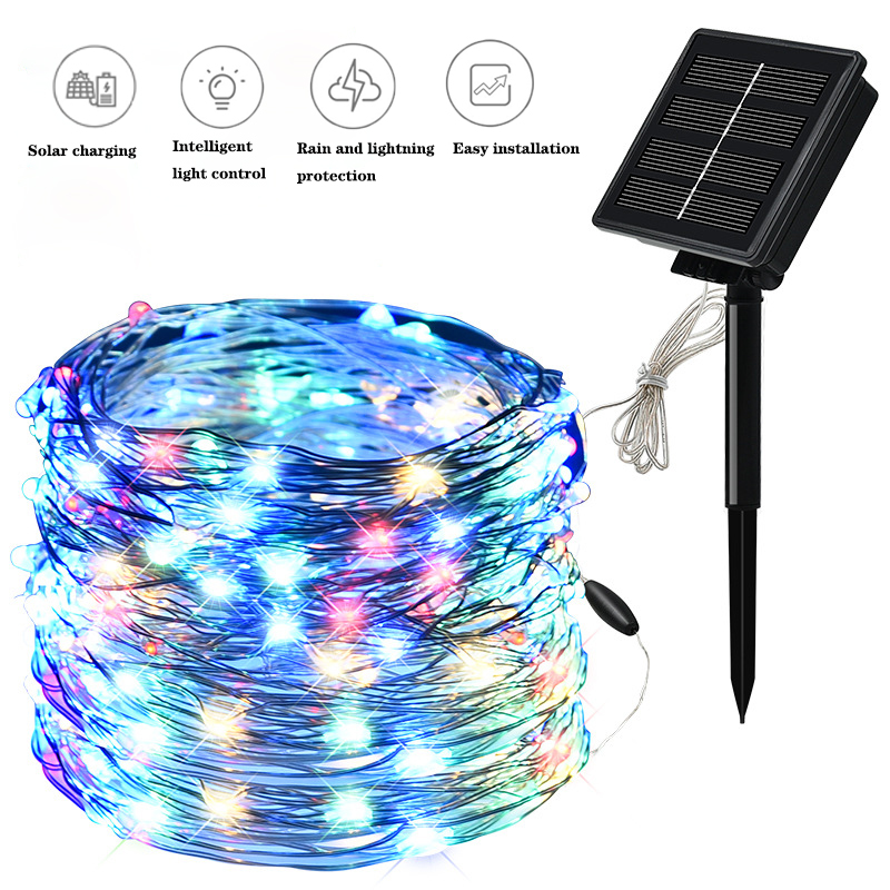 100/200LED Solar Light String 8 Modes Fairy Garland Copper Wire Light String Outdoor Waterproof Christmas Garland Lighting