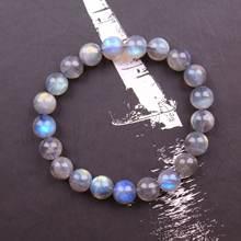 Минималистичный браслет из натурального лунного камня женский