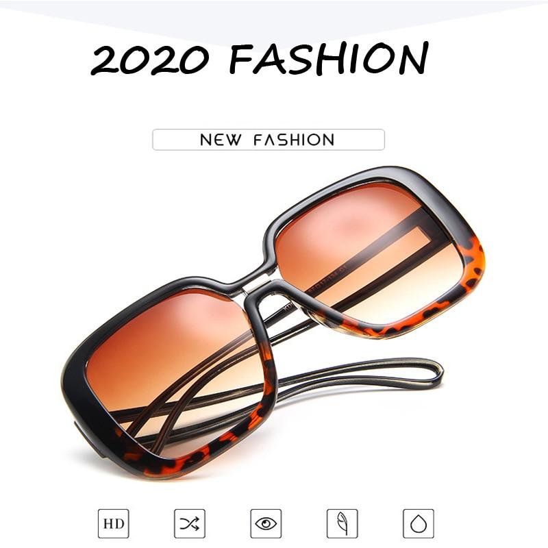 2020 Fashion Vintage Oversized Square Sunglasses Women Large Black T Frame Sun Galsses Luxury Brand Designer