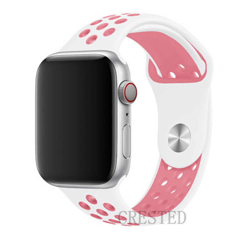 Спортивный ремешок для apple watch band 44 мм/40 мм apple watch 5 4 3 band iwatch band 5 42 мм/38 мм correa браслет ремень аксессуары для часов - Цвет ремешка: white light pink 13