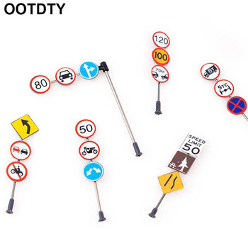 6pcs/set 1/87 Scale Model Mini Traffic Signs Building Sand Table Model Accessories DIY Micro Landscape Decoration Road Signs image