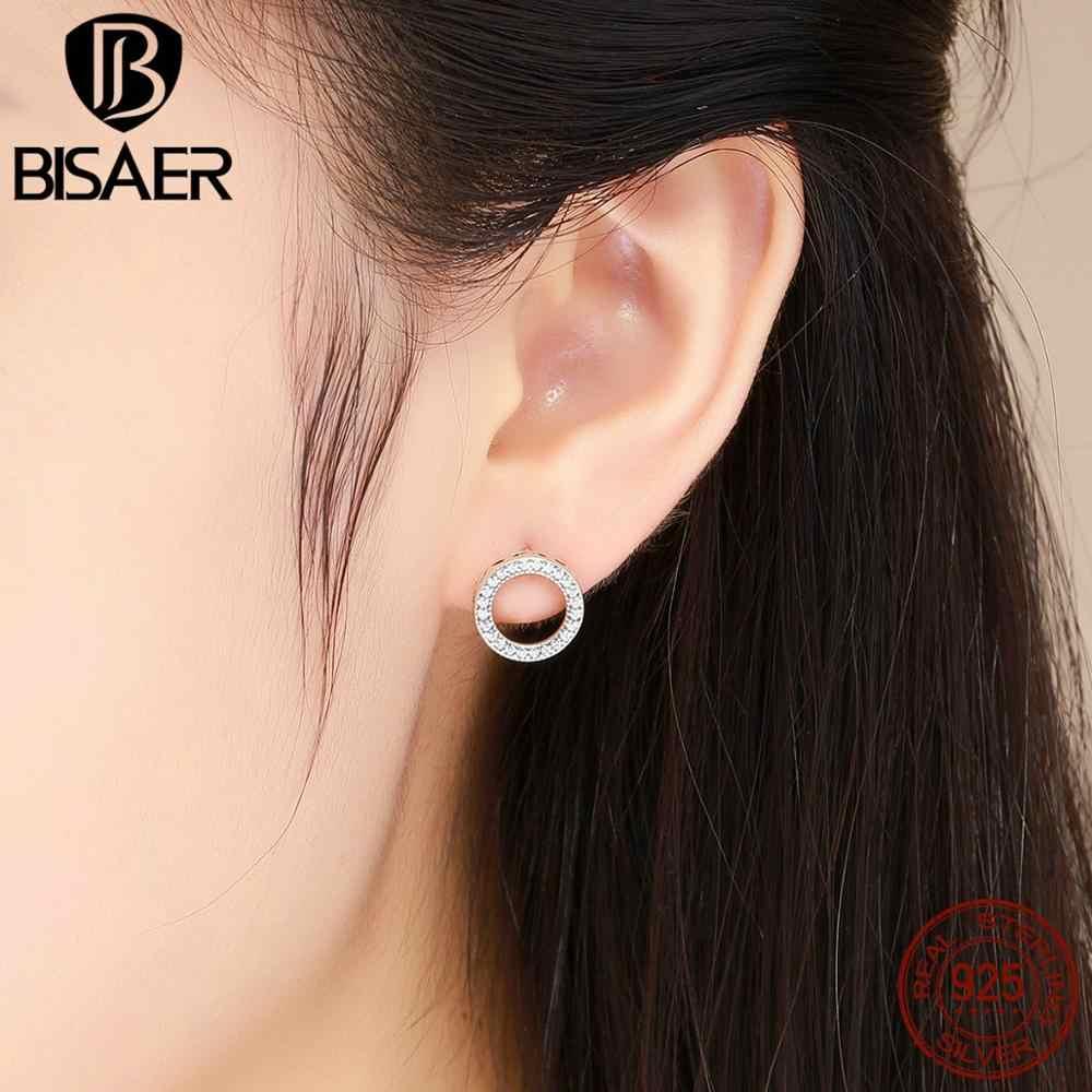 Boucles d'oreilles à la mode en argent Sterling 925 pour femmes 6 Styles simples CZ boucles d'oreilles rondes Push-back bijoux oorbellen HJS437