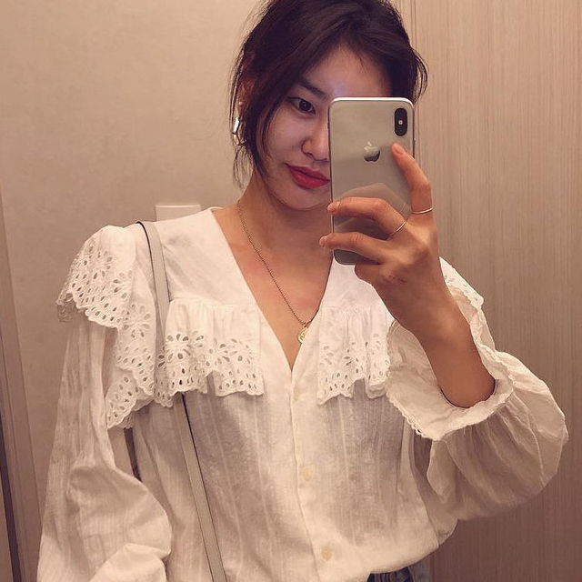 SLLSKY 2020 Spring Lady's Lace Patchwork Sweet White Blouse Women Blouses Long Sleeve Elegant Top Women's top Casual Shirts 4
