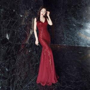 Image 3 - סקסי בת ים שמלת ערב עמוק V צוואר נצנצים ארוך שמלה אלגנטי Vestido דה פיאסטה Robe Ruffules פורמליות שמלת YNY 16538 #