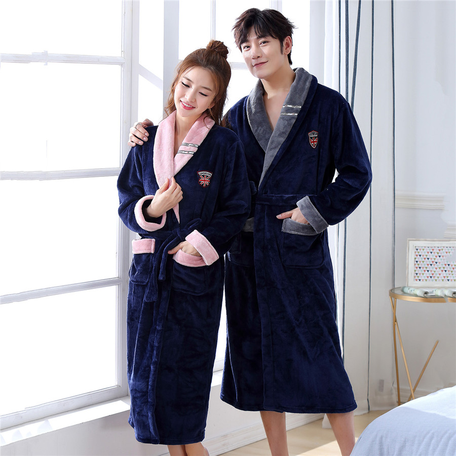 Navy Blue Home Clothing Winter Intimate Lingerie Home Dressing Gown Solid Colour Home Clothing Coral Fleece V-neck Robe