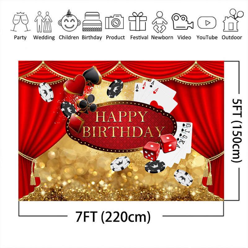 Las Vegas urodziny fotografia tło kasyno czerwona kurtyna złoto tło Bokeh kasyno zdjęcie tematyczne stoisko Banner dekoracje