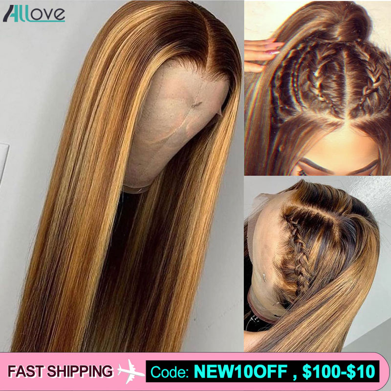Allove Honey Blonde Highlight Brown Ombre Hair Wig 13X4 13X6 Brazilian Straight Lace Front Human Hair Wigs 360 Lace Front Wig