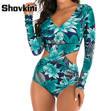 цена на Shovkini Green Leaves Printed One Piece Swimsuit Long Sleeve Swimwear Women 2020 Arrival Sexy Cut Out Beach Surfing Bathing Suit
