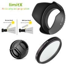 3 in 1 set UV filtre lens hood cap Nikon Coolpix P1000 dijital kamera